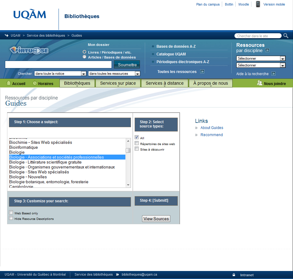 Université du Québec à Montréal | Service des bibliothèques (Subject Guides) http://rondeau.labunix.uqam.ca/subsplus/subjects/?gen_id=139