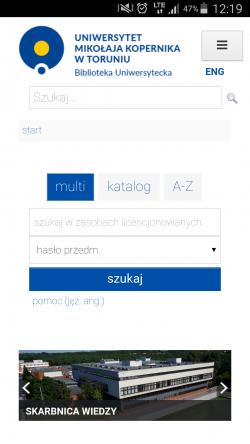 """Mobilny widok strony głównej wraz z """"serachbox"""" oraz karuzelę"""