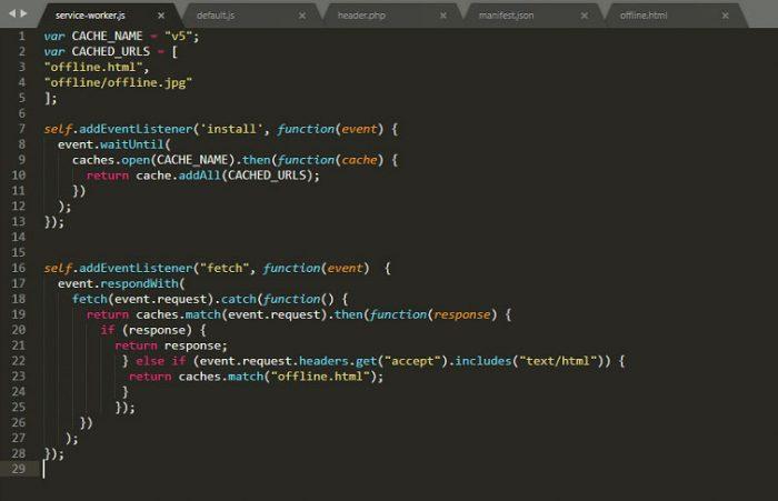 Kod źródłowy pliku ServiceWorker.js oparty na książce Progresywne aplikacje webowe / Ater Tal, Helion 2018.